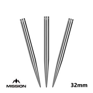 Mission Glide Dart Points - Replacement Smooth Points - Silver - 32mm