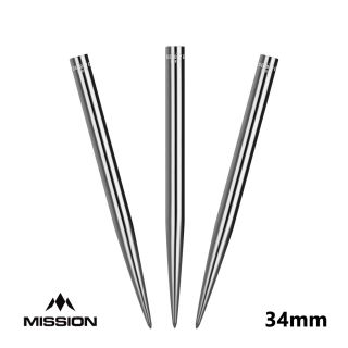 Mission Glide Dart Points - Replacement Smooth Points - Silver - 34mm