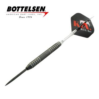 Bottelsen - Kick Ass - 26g - Black - Coarse Knurl - Fixed Point - Steel Tip Darts - D1761