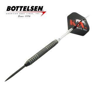 Bottelsen - Kick Ass - 28g - Black - Coarse Knurl - Fixed Point - Steel Tip Darts - D1762