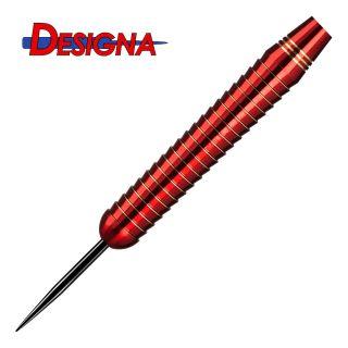 Designa Mako 22g Steel Tip Darts -  Electro Brass - Shark Grip - Red - D1869