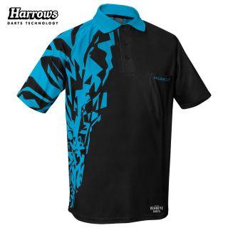 Harrows Rapide Black and Aqua Blue Dart Shirt - S-5XL