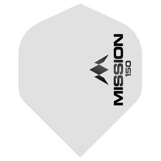 Mission Logo 150 Dart Flights - White No 2 Standard - F0621