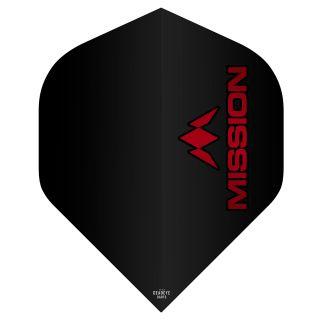 Mission Logo 100 Dart Flights - Black - Red Logo No 2 Standard - F0633