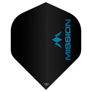 Mission Logo 100 Dart Flights - Black - Blue Logo No 2 Standard - F0634