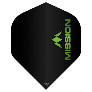 Mission Logo 100 Dart Flights - Black - Green Logo No 2 Standard - F0636
