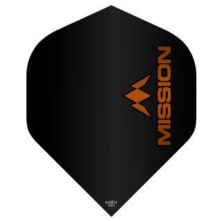 Mission Logo 100 Dart Flights - Black - Orange Logo No 2 Standard - F0637
