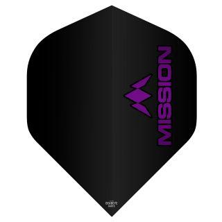 Mission Logo 100 Dart Flights - Black - Purple Logo No 2 Standard - F0638