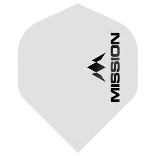 Mission Logo 100 Dart Flights - Matt White No 2 Standard - F0639