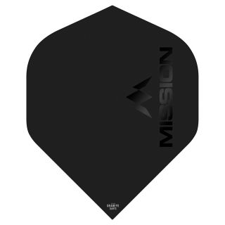 Mission Logo 100 Dart Flights - Matt Black No 2 Standard - F0640
