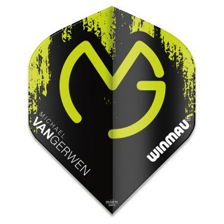 Winmau Mega Standard MvG Dart Flights - Black and Green - F0926