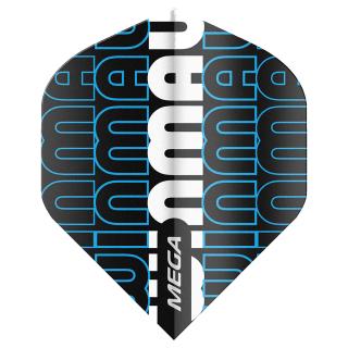 Winmau Mega Standard Dart Flights - Black/Blue and White - F1604