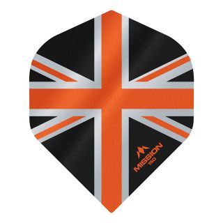 Mission Alliance Union Jack 150 - No 2 Standard - Black with Orange Dart Flights - F1609