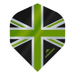 Mission Alliance - Union Jack - No 2 Standard - 100 Micron - Black with Green Dart Flights - F1622