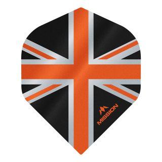 Mission Alliance - Union Jack - No 2 Standard - 100 Micron - Black with Orange Dart Flights - F1623