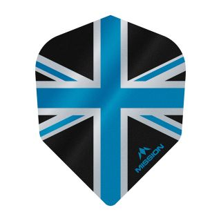 Mission Alliance - Union Jack - No 6 Shape - 100 Micron - Black with Blue Dart Flights - F1628
