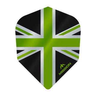Mission Alliance - Union Jack - No 6 Shape - 100 Micron - Black with Green Dart Flights - F1630