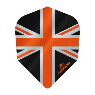 Mission Alliance - Union Jack - No 6 Shape - 100 Micron - Black with Orange Dart Flights - F1631