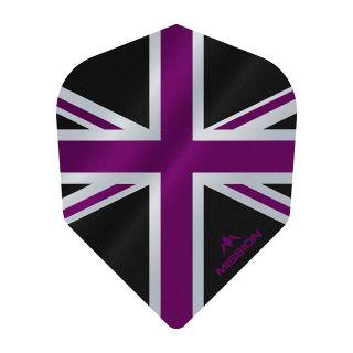 Mission Alliance - Union Jack - No 6 Shape - 100 Micron - Black with Purple Dart Flights - F1632