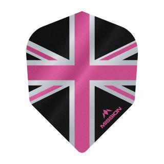 Mission Alliance - Union Jack - No 6 Shape - 100 Micron - Black with Pink Dart Flights - F1633