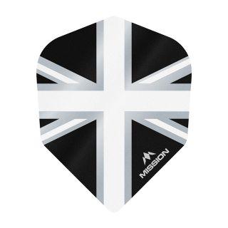 Mission Alliance - Union Jack - No 6 Shape - 100 Micron - Black with White Dart Flights - F1635