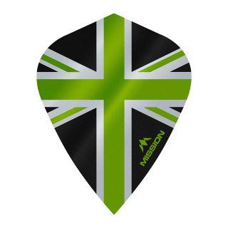 Mission Alliance - Union Jack - Kite - 100 Micron - Black with Green Dart Flights - F1638