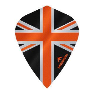 Mission Alliance - Union Jack - Kite - 100 Micron - Black with Orange Dart Flights - F1639