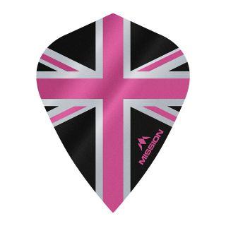 Mission Alliance - Union Jack - Kite - 100 Micron - Black with Pink Dart Flights - F1641