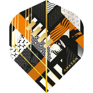 Amazon Abstract - No2 Standard Dart Flights - Black/Orange -  F1741