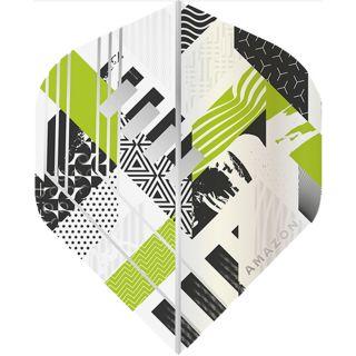 Amazon Abstract - No2 Standard Dart Flights - White/Green -  F1746