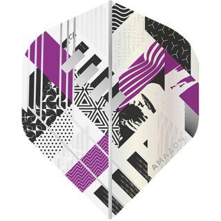Amazon Abstract - No2 Standard Dart Flights - White/Purple -  F1750
