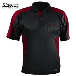 Harrows Vivid Black and Deep Red Dart Shirt - S-5XL