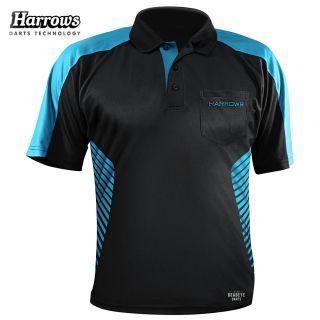 Harrows Vivid Black and Aqua Dart Shirt - S-5XL