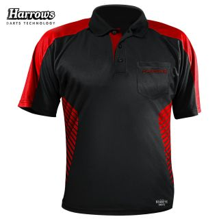 Harrows Vivid Black and Fire Red Dart Shirt - S-5XL