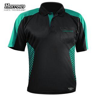 Harrows Vivid Black and Jade Dart Shirt - S-5XL
