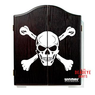 Winmau Black Skull Cabinet with Dartboard plus Optional Accessories