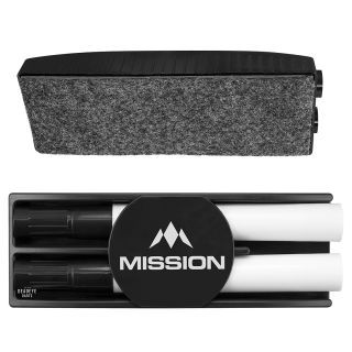 Mission Whiteboard Kit - Premium Dry Eraser with Dry Wipe Pens - Wipe Clean Kit - Black