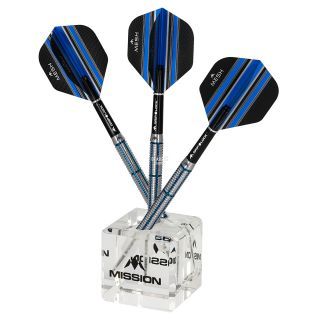 Mission Cube Darts Display - holds 3 Darts - Angled Design - Transparent Acrylic - Dart Stand