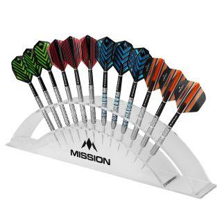 Mission Station 12 Darts Display - holds 12 Darts - Angled Design - Transparent Acrylic - Arc Dart Stand