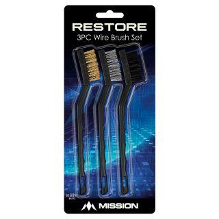 Mission Restore Brush Cleaning Kit - Steel-Brass-Nylon - 3 Brushes - Black
