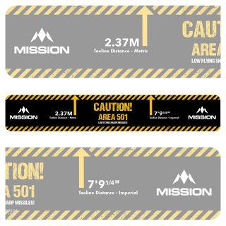 Mission Throw Line Oche - Professional Toeline Oche - Durable Adhesive - Heavy Duty - Caution - Area 501