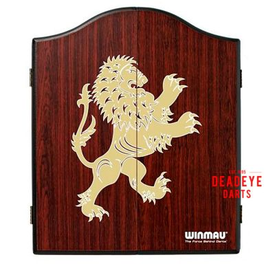 Winmau Rosewood Lion Cabinet with Dartboard plus Optional Accessories